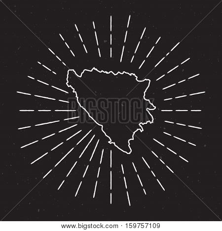 Bosnia And Herzegovina Vector Map Outline With Vintage Sunburst Border. Hand Drawn Map With Hipster