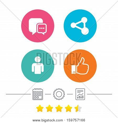 Social media icons. Chat speech bubble and Share link symbols. Like thumb up finger sign. Human person profile. Calendar, cogwheel and report linear icons. Star vote ranking. Vector
