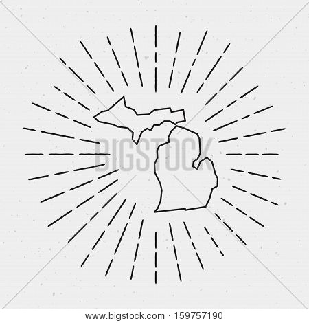 Retro Sunburst Hipster Design. Michigan Map Surrounded By Vintage Sunburst Rays. Trendy Hand Drawn S