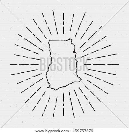 Retro Sunburst Hipster Design. Ghana Map Surrounded By Vintage Sunburst Rays. Trendy Hand Drawn Sun