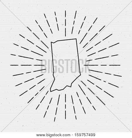 Retro Sunburst Hipster Design. Indiana Map Surrounded By Vintage Sunburst Rays. Trendy Hand Drawn Su