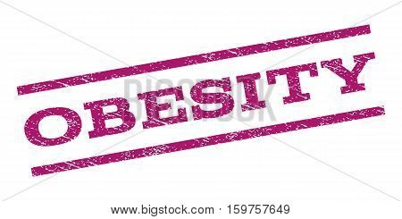 Obesity watermark stamp. Text caption between parallel lines with grunge design style. Rubber seal stamp with scratched texture. Vector purple color ink imprint on a white background.