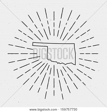 Vector Oklahoma Map Outline With Retro Sunburst Border. Hand Drawn Hipster Decoration Element. Black