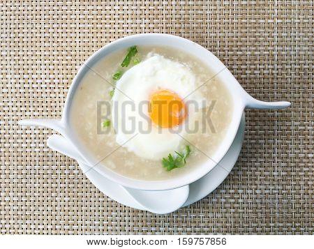 Gruel or porridge to eat for breakfast.