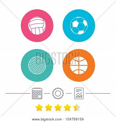 Sport balls icons. Volleyball, Basketball, Soccer and Golf signs. Team sport games. Calendar, cogwheel and report linear icons. Star vote ranking. Vector
