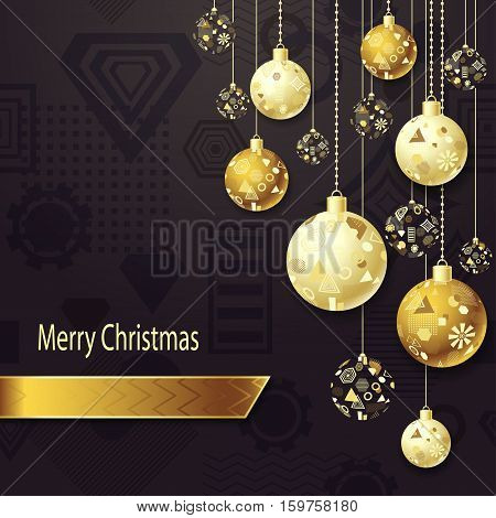 Merry Christmas or New Year background with Christmas balls in gold on dark and geometric seamless pattern. Creative Post Card for winter holiday. Vector Stock  Illustration.