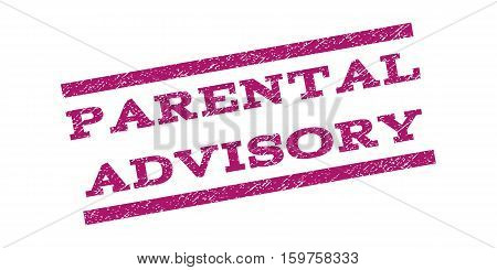 Parental Advisory watermark stamp. Text caption between parallel lines with grunge design style. Rubber seal stamp with dirty texture. Vector purple color ink imprint on a white background.