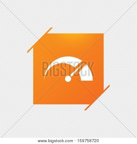 Tachometer sign icon. Revolution-counter symbol. Car speedometer performance. Orange square label on pattern. Vector