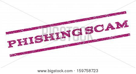 Phishing Scam watermark stamp. Text tag between parallel lines with grunge design style. Rubber seal stamp with unclean texture. Vector purple color ink imprint on a white background.