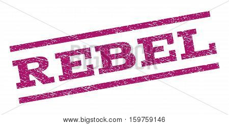 Rebel watermark stamp. Text tag between parallel lines with grunge design style. Rubber seal stamp with dust texture. Vector purple color ink imprint on a white background.