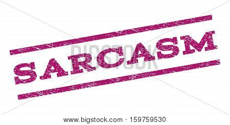 Sarcasm watermark stamp. Text caption between parallel lines with grunge design style. Rubber seal stamp with scratched texture. Vector purple color ink imprint on a white background.