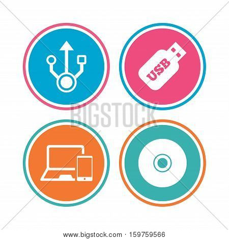 Usb flash drive icons. Notebook or Laptop pc symbols. Smartphone device. CD or DVD sign. Compact disc. Colored circle buttons. Vector