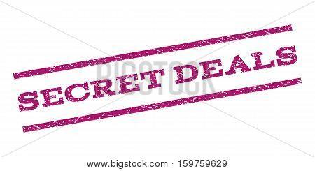 Secret Deals watermark stamp. Text tag between parallel lines with grunge design style. Rubber seal stamp with dirty texture. Vector purple color ink imprint on a white background.