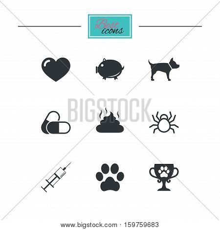 Veterinary, pets icons. Dog paw, syringe and winner cup signs. Pills, heart and feces symbols. Black flat icons. Classic design. Vector