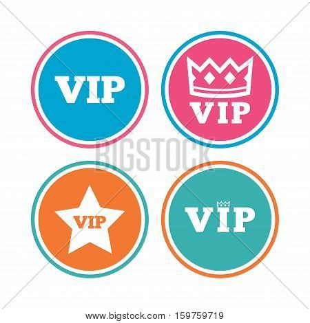 VIP icons. Very important person symbols. King crown and star signs. Colored circle buttons. Vector