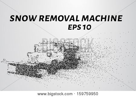 Snowplow Particles. Snow-removing Car Consists Of Circles And Points. Vector Illustration
