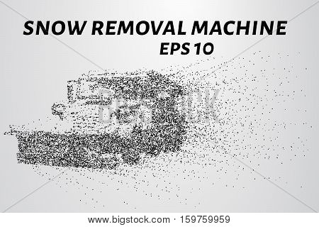 Snow Removal Machine Particles. Snow Removal Machine Consists Of Circles And Points. Vector Illustra