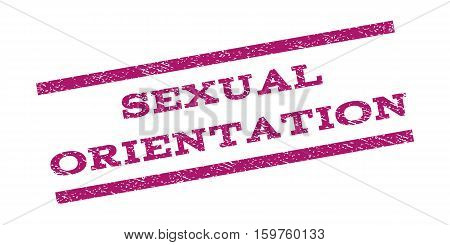 Sexual Orientation watermark stamp. Text caption between parallel lines with grunge design style. Rubber seal stamp with dirty texture. Vector purple color ink imprint on a white background.