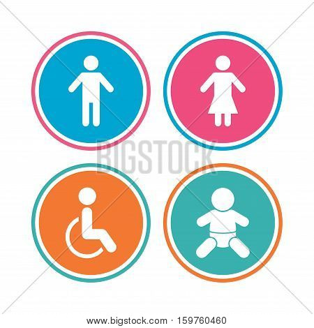 WC toilet icons. Human male or female signs. Baby infant or toddler. Disabled handicapped invalid symbol. Colored circle buttons. Vector