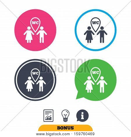WC Toilet sign icon. Restroom or lavatory map pointer symbol. Report document, information sign and light bulb icons. Vector