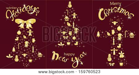 Set of postcard Happy Holidays, Happy New Year, Christmas holiday. Gold lettering and stylized Christmas tree, bell, ginger bread on burgundy, stock vector illustration