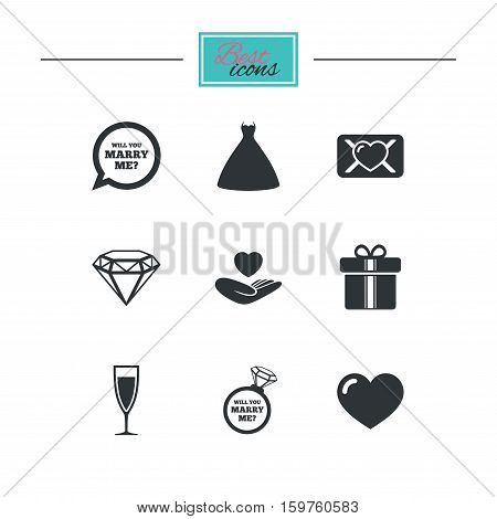 Wedding, engagement icons. Love oath letter, gift box and brilliant signs. Dress, heart and champagne glass symbols. Black flat icons. Classic design. Vector