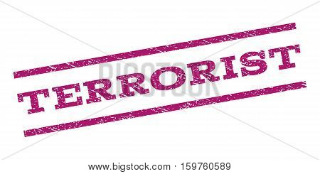 Terrorist watermark stamp. Text tag between parallel lines with grunge design style. Rubber seal stamp with dust texture. Vector purple color ink imprint on a white background.