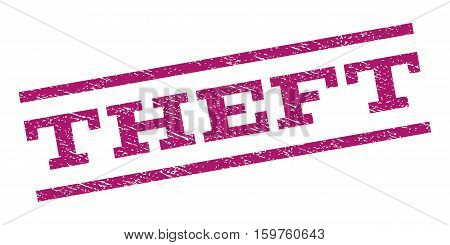 Theft watermark stamp. Text caption between parallel lines with grunge design style. Rubber seal stamp with dirty texture. Vector purple color ink imprint on a white background.