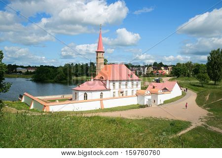 GATCHINA, RUSSIA - JULY 05, 2015: View of Priory Palace. Sunny day in July. The historical landmark of the Leningrad region