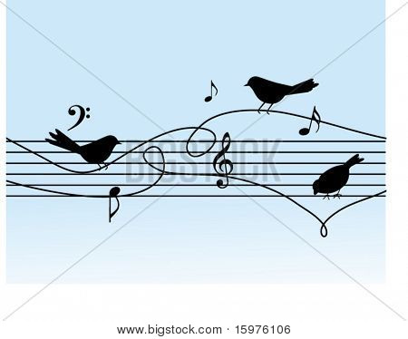 musical notes with birds on a wire
