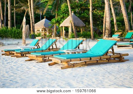 Deckchairs At The Perfect White Sand Beach On Boracay, Philippines