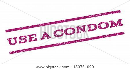 Use a Condom watermark stamp. Text caption between parallel lines with grunge design style. Rubber seal stamp with scratched texture. Vector purple color ink imprint on a white background.