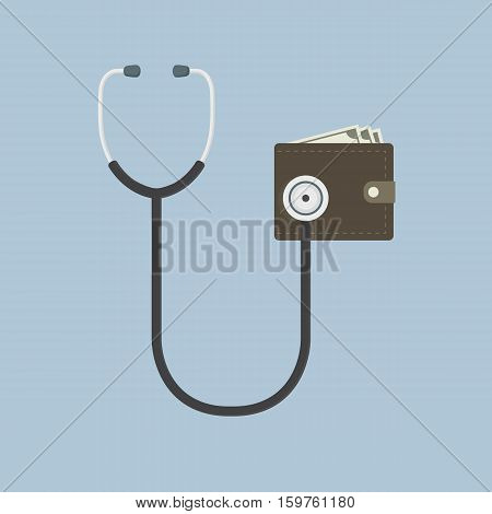 Wallet Financial Check Up Illustration, flat design of stethoscope and Money wallet