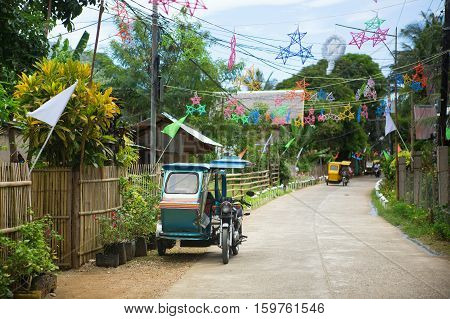 Philippino village with traditional Christmas decorations, Asia
