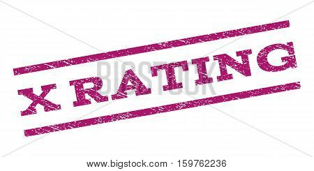 X Rating watermark stamp. Text tag between parallel lines with grunge design style. Rubber seal stamp with unclean texture. Vector purple color ink imprint on a white background.