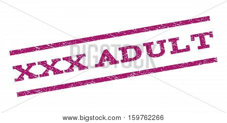 XXX Adult watermark stamp. Text tag between parallel lines with grunge design style. Rubber seal stamp with unclean texture. Vector purple color ink imprint on a white background.