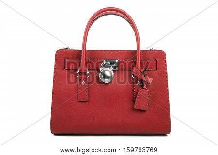 Red Leather Women's Handbag On White Background