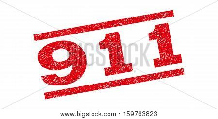 911 watermark stamp. Text caption between parallel lines with grunge design style. Rubber seal stamp with scratched texture. Vector red color ink imprint on a white background.