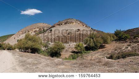 Twin round hills among Mediterranean landscape in Galilee, Israel