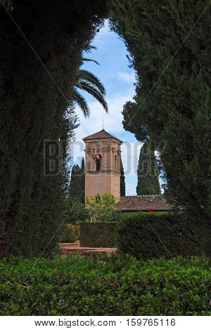 Alhambra palace seen from Alhambra gardens in Spain