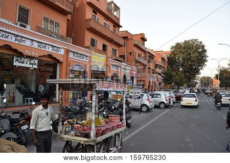 JAIPUR, RAJASTHAN, INDIA - FEBRUARY 05, 2016 - View of the red buildings in the old bazaar area