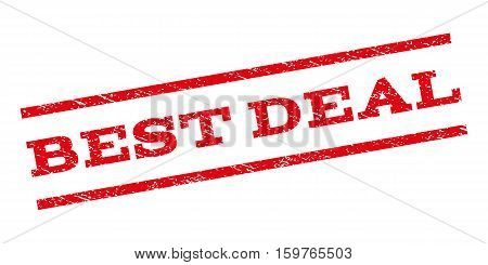 Best Deal watermark stamp. Text tag between parallel lines with grunge design style. Rubber seal stamp with scratched texture. Vector red color ink imprint on a white background.