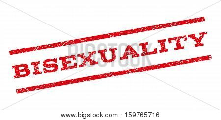 Bisexuality watermark stamp. Text caption between parallel lines with grunge design style. Rubber seal stamp with unclean texture. Vector red color ink imprint on a white background.