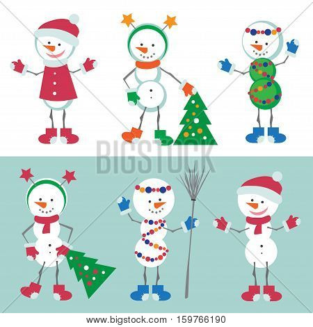 Set of Snowman Vector Illustration. Snow man Character with Christmas Tree, Xmas decorations. Isolated Snowman on the White and Blue Background.