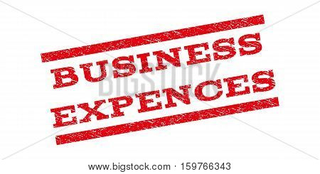 Business Expences watermark stamp. Text tag between parallel lines with grunge design style. Rubber seal stamp with unclean texture. Vector red color ink imprint on a white background.