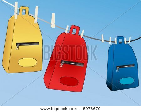 backpacks hanging to dry