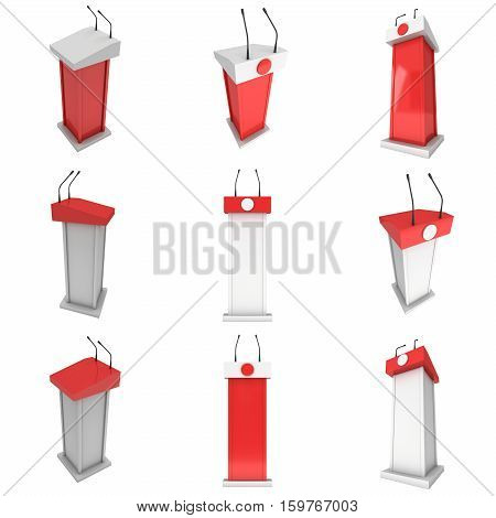 3d Speaker Podium. Red Tribune Rostrum Stand with Microphones. 3d render isolated on white background. Debate, press conference concept