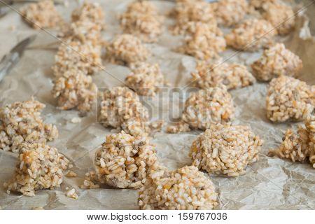 preparing  of rice balls or italian arancine