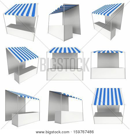 Market stand kiosk stall with striped awning for promotion sale. Shopping cart set. Business store, showcase and kiosk, marketplace mobile. 3D render illustration isolated on white.