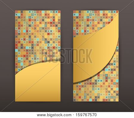 Mosaic flyer design elements. Modern style Design vertical banners background page. Vector illustration EPS 10 for template brochure layout leaflet newsletters card front and back
